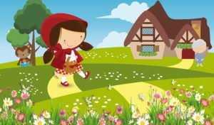 Chapeuzinho Vermelho andando com o lobo e a vovozinha ao fundo